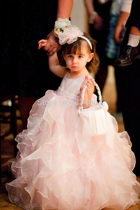 Ruffle Floor Length Flower Girl Dresses Children Birthday Dress Organza Kids Wedding Party Dresses 1028-49