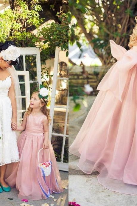 Pink Floor Length Flower Girl Dresses Children Birthday Dress Organza Kids Wedding Party Dresses 1028-58