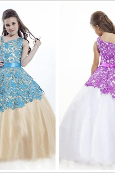 Lace Ball Gown Floor Length Flower Girl Dresses Children Birthday Dress Tulle Kids Wedding Party Dresses 1028-102