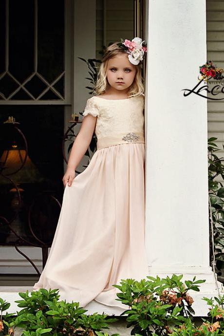 Cap Sleeve A Line Chiffon Lace Floor Length Flower Girl Dresses Children Birthday Dress Kids Wedding Party Dresses 13