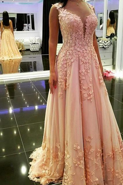 Elegant Long Appliques V-Neck Prom Dress-Tulle Backless Prom Dress