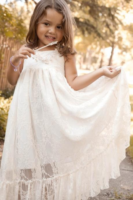 Ankle Length Flower Girl Dresses Children Birthday Dress Lace Halter Kids Wedding Party Dresses 0628-01