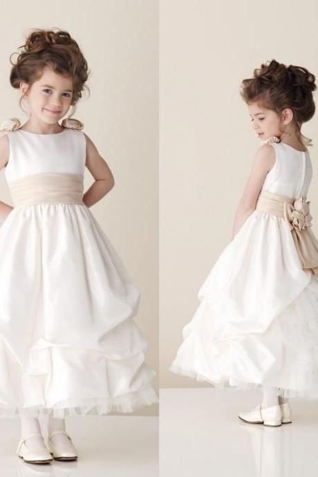 Tea Length Flower Girl Dresses Children Birthday Dress Satin Crew Kids Wedding Party Dresses 0628-16