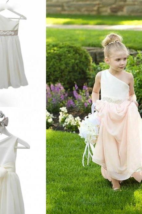 One Shoulder Chiffon Floor Length Flower Girl Dresses Children Birthday Dress Kids Wedding Party Dresses 0701-30