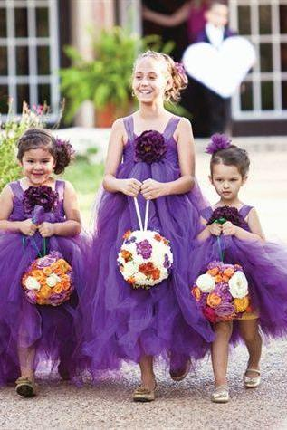 Tea Length Flower Girl Dresses Children Birthday Dress Tulle Spaghetti Strap Kids Wedding Party Dresses 0701-32
