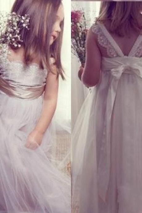 Gray Flower Girl Dresses Children Birthday Dress Tulle Cute Lace Wedding Party Dresses ww08