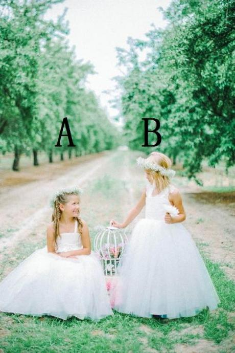 Flower Girl Dresses Children Birthday Dress Tulle Ball Gown Wedding Party Dresses ww36