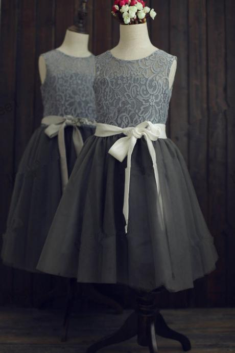 Flower Girl Dresses Children Birthday Dress Gray Lace Wedding Party Dresses h78