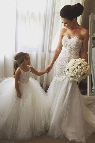 Flower Girl Dresses Children Birthday Dress White Lace Spaghetti Strap Ball Gown Tulle Wedding Party Dresses 65
