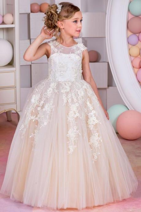 Flower Girl Dresses Children Birthday Dress Lace Backless Ball Gown Tulle Wedding Party Dresses 68