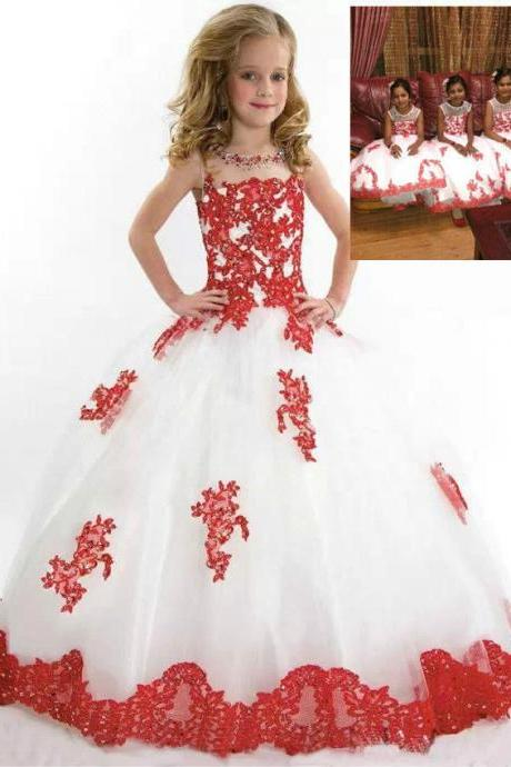 Beautiful Flower Girl Dresses Children Birthday Dress Red Lace Applique Ball Gown Tulle Wedding Party Dresses 71