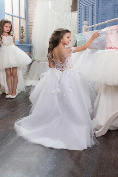 Hi-Lo White Lace Flower Girls Dresses For Weddings Junior Bridesmaid Kids Long Bow Cheap Backless Toddler Little Girl Pageant 79