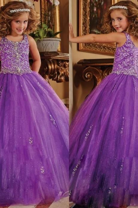 2017 Ball Gown Flower Girl Dresses Scoop Sleeveless Beaded Sequins Purple Tulle Evening Gowns Kids First Communion Dresses 99