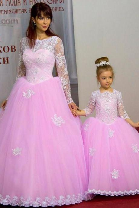 Pink Long Sleeve Pink Flower Girl Dresses Children Birthday Dress Lace Applique Ball Gown Tulle Wedding Party Dresses 100