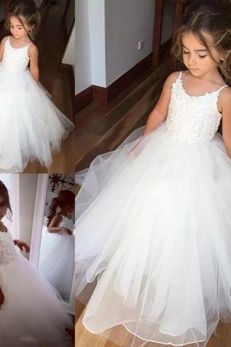 Spaghetti Strap Flower Girl Dresses Children Birthday Dress Lace Ball Gown Tulle Wedding Party Dresses 101