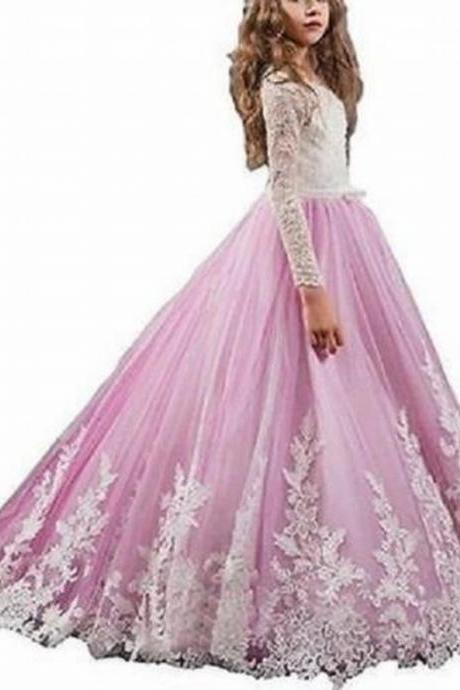 Long Sleeve Lace Pink Skirt Flower Girl Dresses Children Birthday Dress Ball Gown Tulle Wedding Party Dresses 01