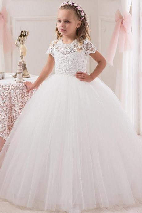High Quality Pageant Flower Girl Dresses Children Birthday Dress Crew Short Sleeve Lace Ball Gown Tulle Wedding Party Dresses 09