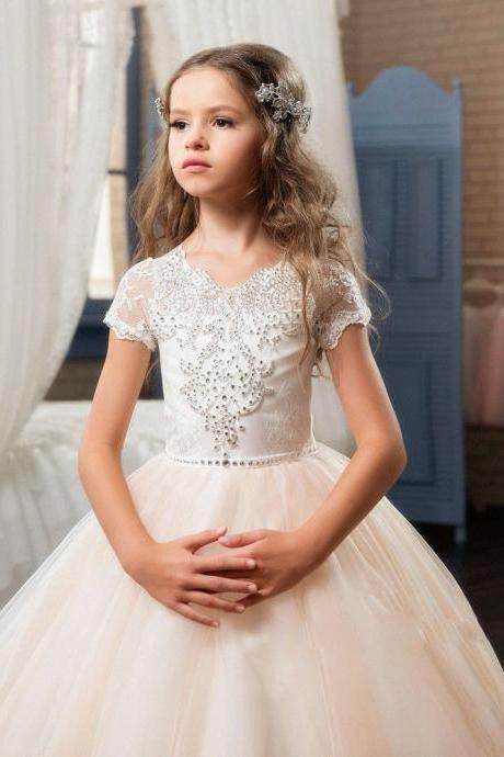 High Quality Short Sleeve Pageant Flower Girl Dresses Children Birthday Dress Beading Lace Ball Gown Tulle Wedding Party Dresses 12