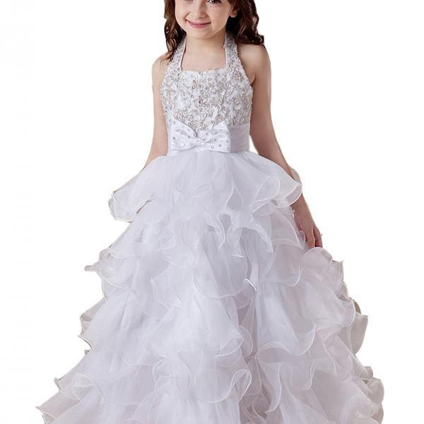 Halter Ruffle Girl Birthday Wedding Party Formal Flower Girls Dress baby Pageant dresses 339