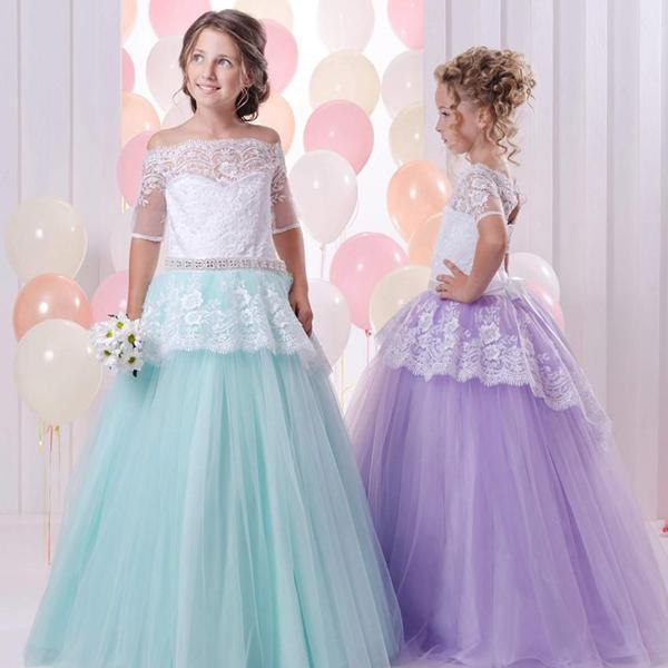 Half Sleeve Lace Girl Birthday Wedding Party Formal Flower Girls Dress baby Pageant dresses 340