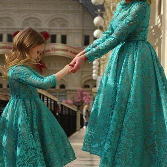Hi-Lo Long Sleeve Lace Girl Birthday Wedding Party Formal Flower Girls Dress baby Pageant dresses 350