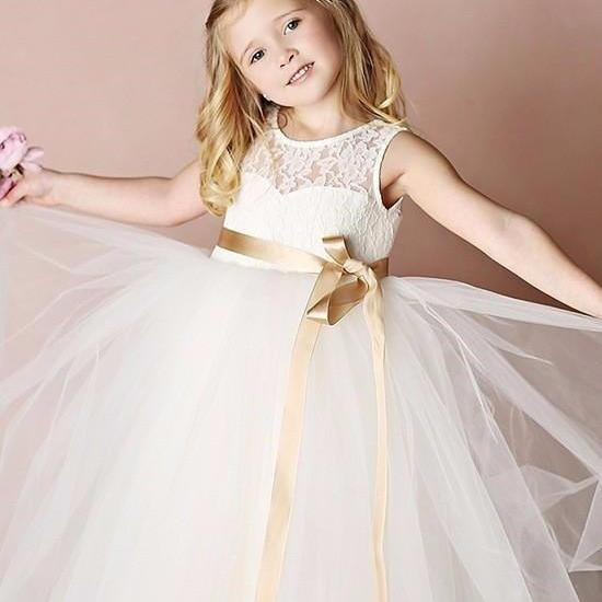 Simple Lace Girl Birthday Wedding Party Formal Flower Girls Dress baby Pageant dresses 352