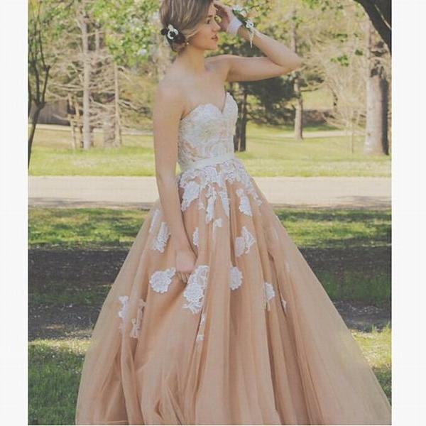 White and Champagne Prom Dress Sleeveless Prom Dress A-line Prom Dress Lace Prom Dress Long Prom Dress Party Dress
