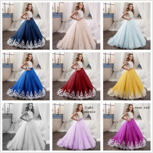 New Fashion Lace Applique Formal Flower Girl Dresses .Flower Girl Dresses.Flower Gril Dresses,Satin Flower Girl Dresses 485
