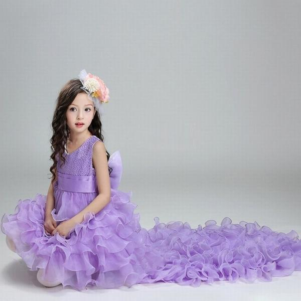 Retail Flower Girl Dresses For Weddings Elegant Trailing Gown Free Shipping Girls Princess Dress Kids Evening Gowns ytz146
