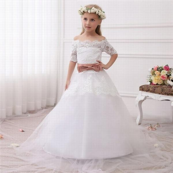 New Hot White Ivory Lace Flower Girls Dresses Sweep Train Girls First Communion Dress Princess Dress Ball Gown ytz231