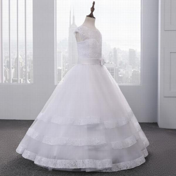 White First Communion Dresses For Girls Ball Gown Tulle Sleeveless With Sashes Pageant Dresses For Little Girls ytz233