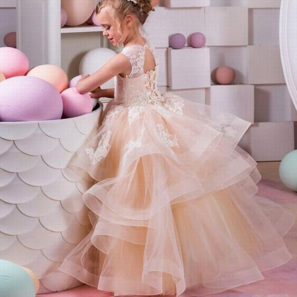 champagne flower girl dresses lace party dress for girls kids pageant ball gown for girls children graduation gown ytz235 (1)