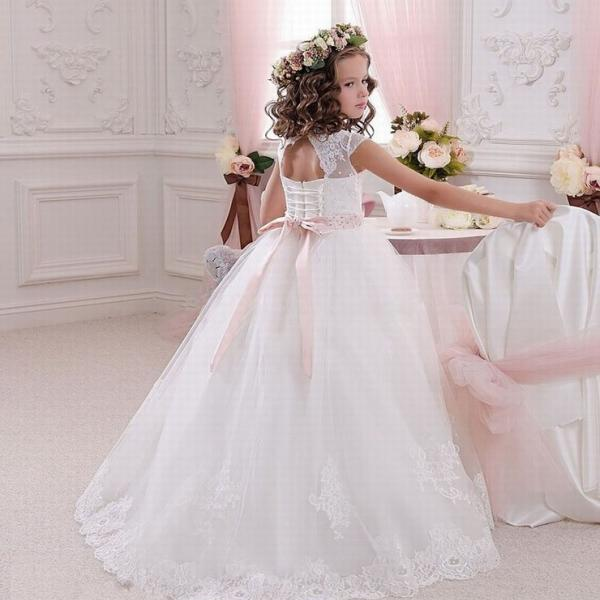 lace first communion girl dresses cap sleeve long kids prom dress evening gown flower girl dresses for wedding ytz236