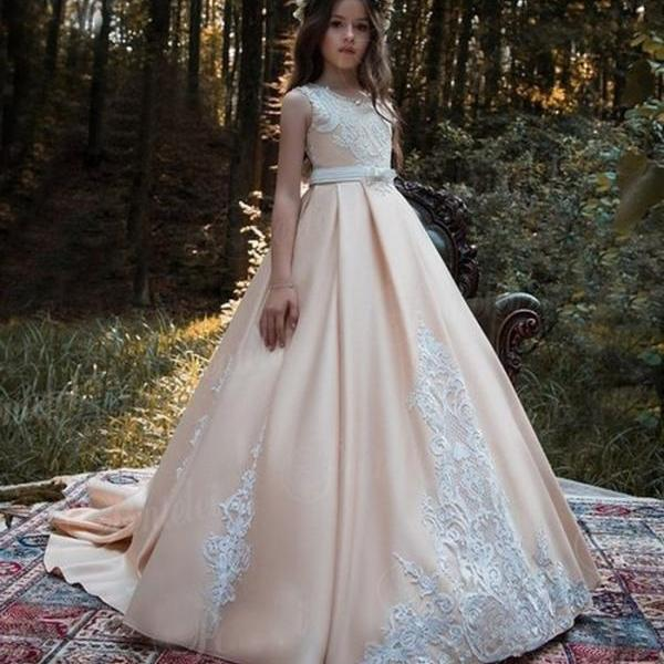 Champagne Flower Girl Dress Elegant Long Train A-line Lace Prom Gowns For Kids ytz310 (1)