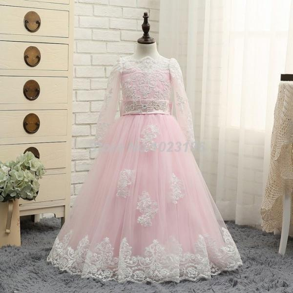 New Pink Flower Girl Dresses White Lace Long Sleeves Princess Dress Ball Gown ytz311 (1)