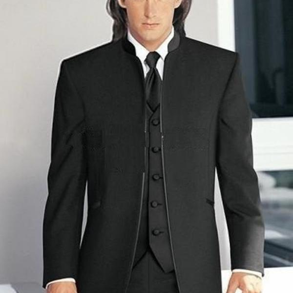 New Arrival Groom Tuxedos Mandarin Lapel Groomsmen Balck Men WeddingPromDinner Suits Best Man Bridegroom (Jacket+Pants+Tie+Vest)