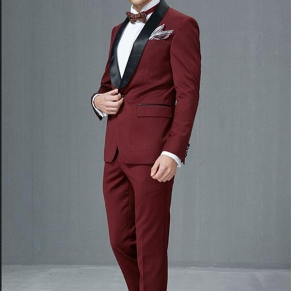 Burgundy/Wine Side Vent Groomsmen Shawl Satin Lapel Groom Tuxedos Men Suits Wedding Best Men suit (Jacket+Pants+Tie)