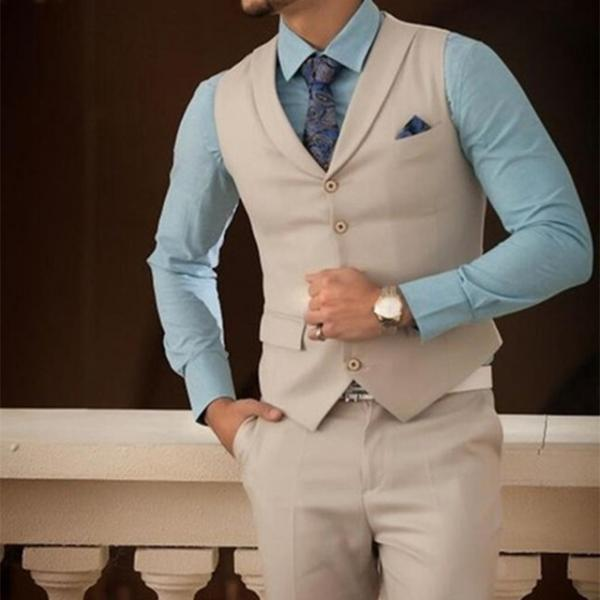 Fashion Simple Casual Custom 2019 Champagne 2 Piece Men Suits Slim Fit Tuxedo Blazer Vestidos (Pants+Vest)