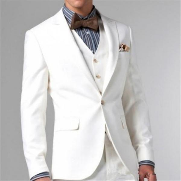 Three Piece Mens Grooms Tuxedos White Peaked Lapel Wedding Suits For MenTwo Button Groomsmen Suit(pants+jacket+vest)