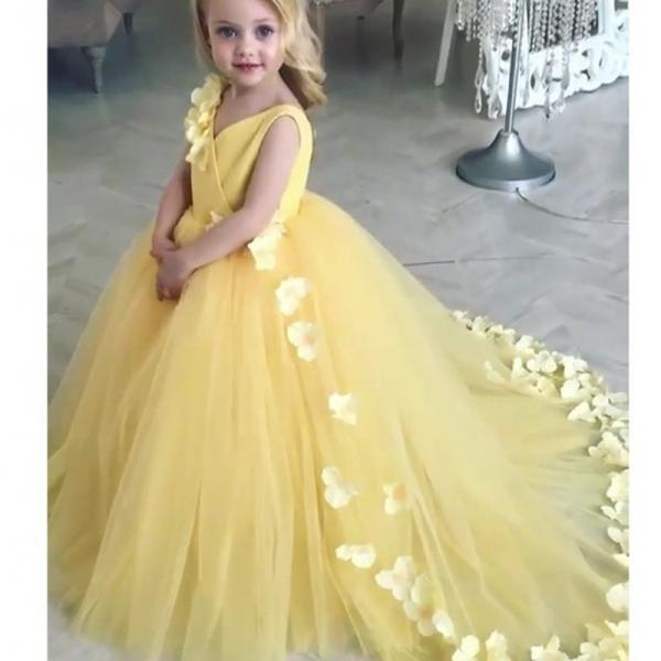 Yellow 2019 Lace Ball Gown Flower Girl Dresses For Weddings First Communion Dresses For Girls Flowers Kids Pageant Evening Dress