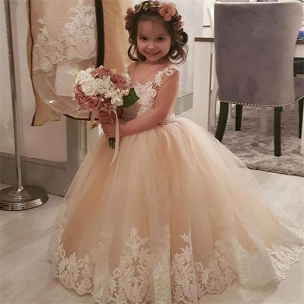 Champagne Sleeveless and Appliques Flower Girl Dresses For Wedding Custom Made New Arrival Hot Pageant Dress