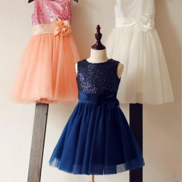 Formal Tea Length Flower Girl Dresses Tulle Sequin Kids Wedding Party Dresses 0502-22