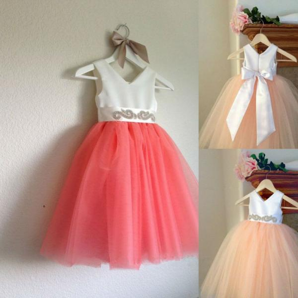Formal Tea Length Flower Girl Dresses Children Birthday Dress Tulle Kids Wedding Party Dresses 1103-04
