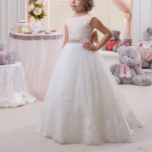 Formal Long Flower Girl Dresses Children Birthday Dress Lace Kids Wedding Party Dresses 1103-65