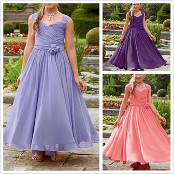 Formal Ankle Length Flower Girl Dresses Children Birthday Dress Chiffon Kids Wedding Party Dresses 1103-71
