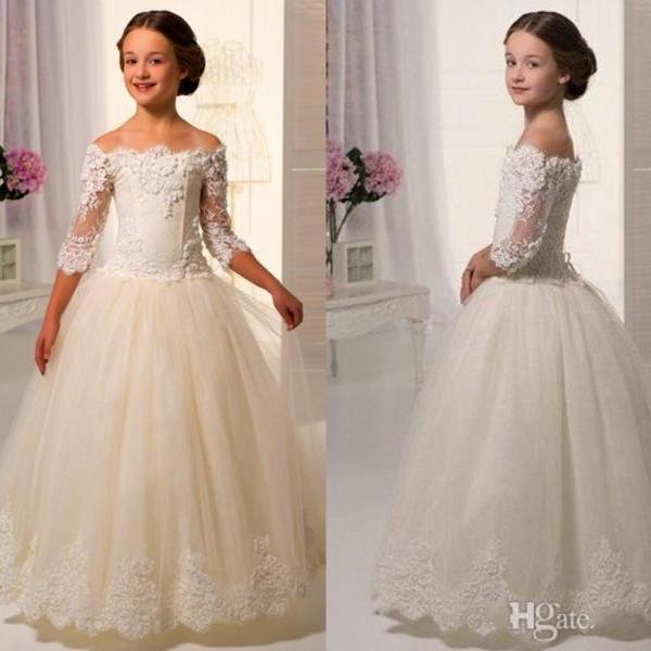 Short Sleeve Lace Applique Flower Girl Dresses Children Birthday Dress Off Shoulder Ball Gown Tulle Wedding Party Dresses 92