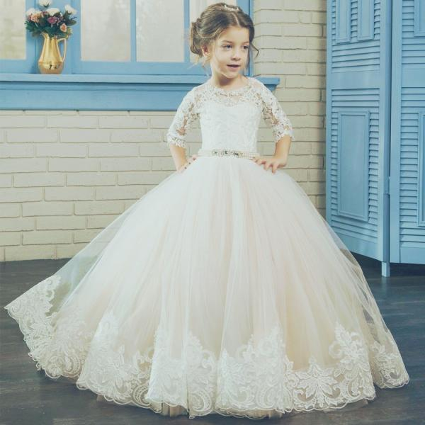Short Sleeve Sash Applique Pageant Flower Girl Dresses Children Birthday Dress Lace Ball Gown Tulle Wedding Party Dresses 22