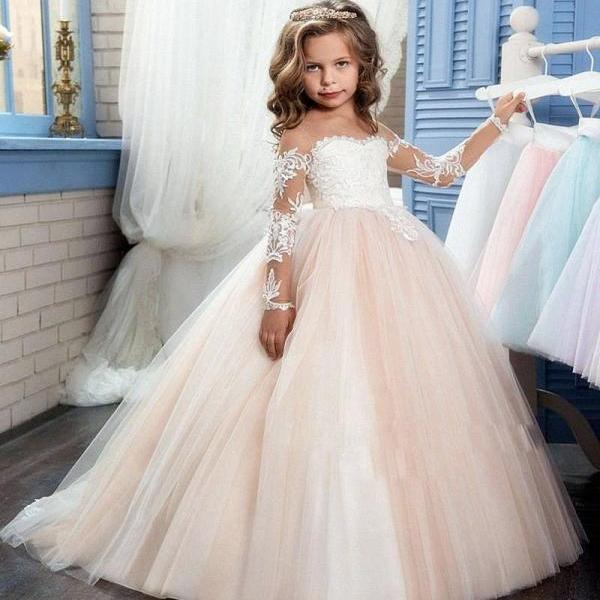 Sheer Long Sleeve Cute Applique Pageant Flower Girl Dresses Children Birthday Dress Lace Ball Gown Tulle Wedding Party Dresses 13