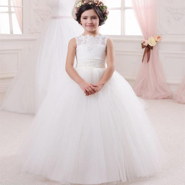 Sleeve Cute Applique Pageant Flower Girl Dresses Children Birthday Dress Lace Ball Gown Tulle Wedding Party Dresses 15