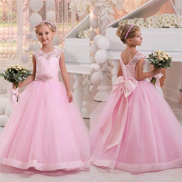 Pink Bows Pageant Flower Girl Dresses Children Birthday Dress Lace Up Ball Gown Tulle Wedding Party Dresses 23